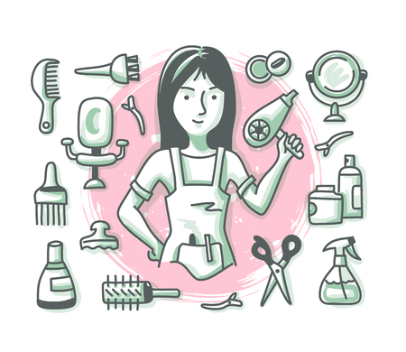 Hairdressing concept with cheerful woman hairdresser and hair salon accessories and supplies for web banners, hero images and printed materials. Doodle professions series