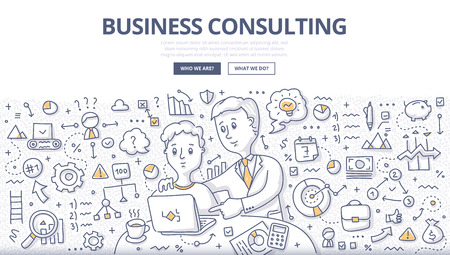 Doodle vector illustration of business consultant giving advice, building business strategy, discussing ideas, planning work. Business consulting concept for web banners, hero images, printed materials