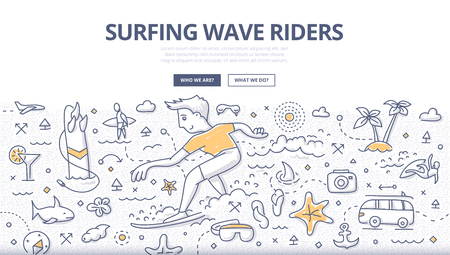 Doodle vector illustration of surfer riding ocean wave. Concept of surfing adventure for web banners, printed materials