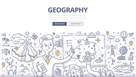 Doodle vector illustration of geography teacher explaining the subject near blackboard. Education concept of geography and exploration for web banners, hero images, printed materials  イラスト・ベクター素材