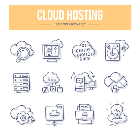 Doodle line icons of storing and exchanging data online. Hosting and cloud technologies vector illustration concepts