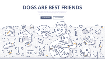 Doodle vector illustration of happy man holding dog in hands. Dogs caring concept for web banners, hero images, printed materials 向量圖像