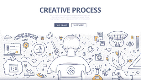 Doodle design style concept of creativity, imagination and design thinking. Modern linear style illustration for web banners, hero images, printed materials  イラスト・ベクター素材