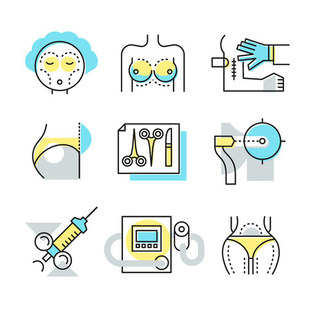 Collection of line icons of plastic surgery, medical ways to make body attractive, repairing damaged skin, reconstructing facial features, body correction. Modern style illustration pictogram symbol c