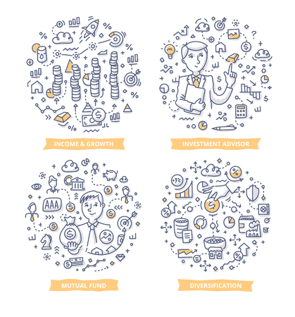 Doodle vector concepts of income & growth in business, fund raising, investment diversification and financial consulting