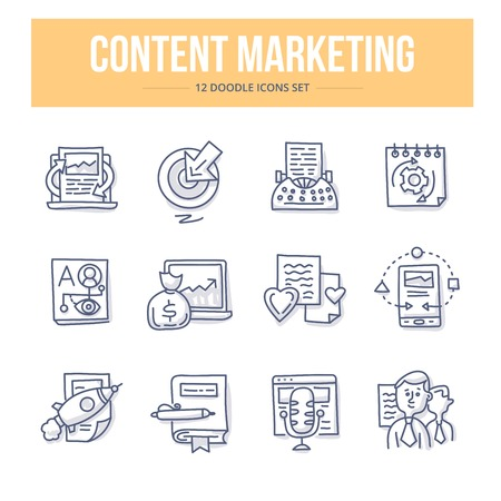 Doodle vector line icons set of content management and digital marketing