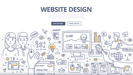 Doodle design style concept of layout web design, creativity in building web page, website development technology.  Modern line style illustration for web banners, hero images, printed materials