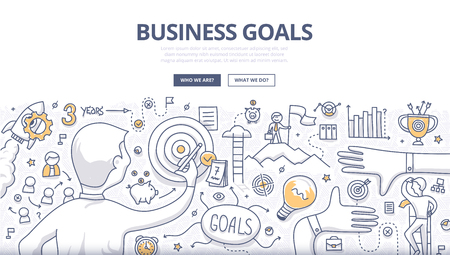 Doodle design style concept of setting and achieving business goals, strategy building, opportunities in business. Modern line style illustration for web banners, hero images, printed materials