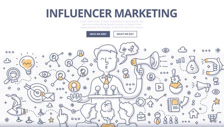 Doodle ilustracja wektorowa przedstawiająca influencera społecznościowego opowiadającego historię marki, wpływającego na decyzję zakupową klienta, rozpowszechniającego informacje za pośrednictwem osobistych kanałów społecznościowych. Koncepcja marketingu zewnętrznego dla banerów internetowych, obrazów bohaterów, materiałów drukowanych