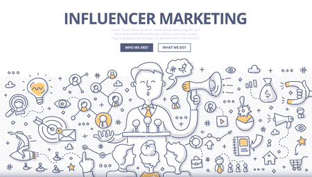 Doodle vector illustration of social influencer telling brand's story, affecting customer's purchasing decision, spreading the word through personal social channels. Outreach marketing concept for web banners, hero images, printed materials