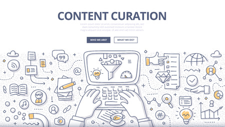 Doodle illustration of curator discovering and gathering relevant information, filtering content and distributing through media channels. Content curation concept for web banners, printed materials Vectores