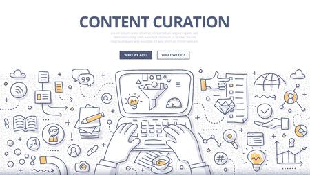 Ilustración de garabatos del curador descubriendo y recopilando información relevante, filtrando contenido y distribuyéndolo a través de canales de medios. Concepto de curación de contenido para banners web, materiales impresos. Ilustración de vector