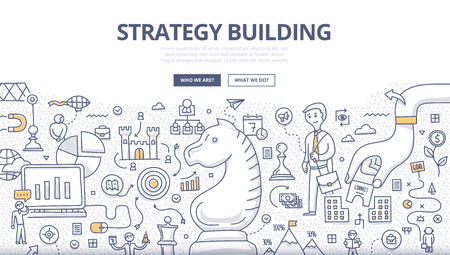 Doodle design style concept of developing business growth strategy, business environment analysis, decision making. Modern line style illustration for web banners, hero images, printed materials