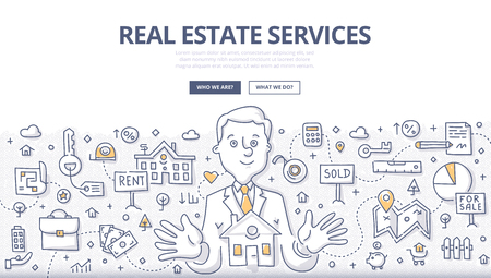 Doodle vector illustration of real estate agent at work. Real estate business concept with property and house mortgage elements for web banners, hero images, printed materials Illustration