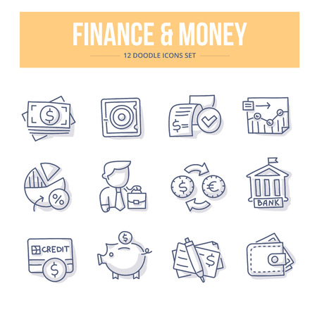 Doodle line icons of banking, investing, financial services, money saving. Vector illustration concepts  イラスト・ベクター素材