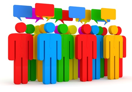 communications: 3d Illustration of Colorful People on white background Stock Photo