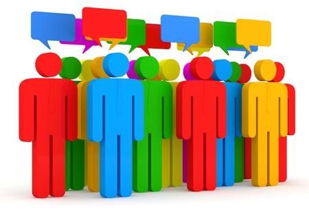 cultural diversity: 3d ilustraci�n de la gente de colores sobre fondo blanco