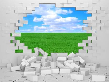 derrumbe: Pared de ladrillos rotos con hermoso paisaje detr�s Foto de archivo