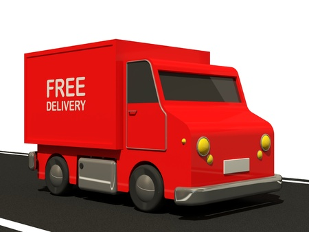 Delivery Van on Road (Express Delivery Concept) photo