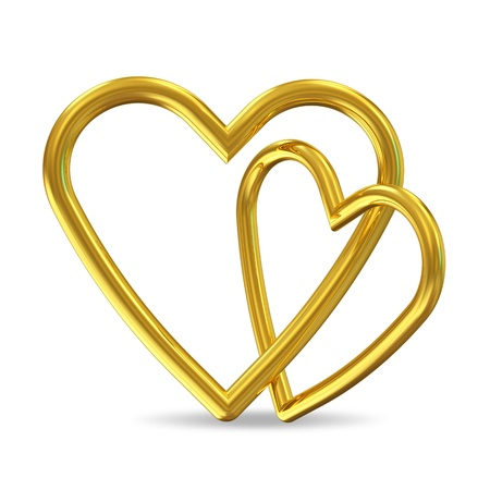 two hearts together: Golden Hearts on white background Stock Photo