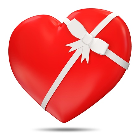 3d Red Heart with Bow on white background Stock Photo - 12210813