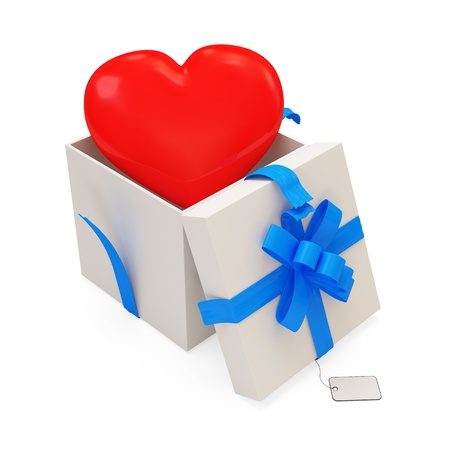 Open Gift Box with Red Heart Inside. Isolated on white background photo