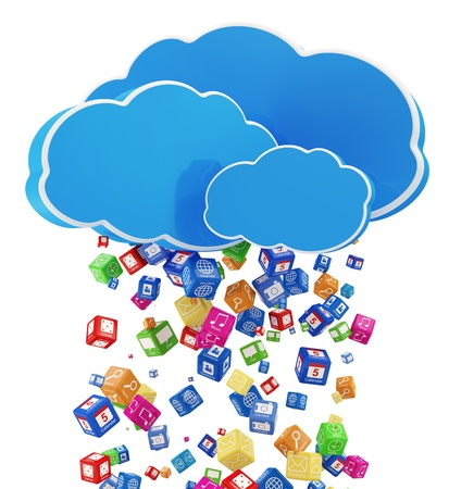 d data: Rain from Application Icons  Cloud Computing Concept Stock Photo