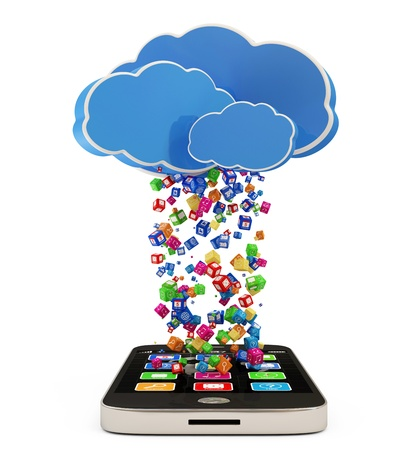 Touchscreen Smartphone Downloading APPS  Cloud Computing Concept