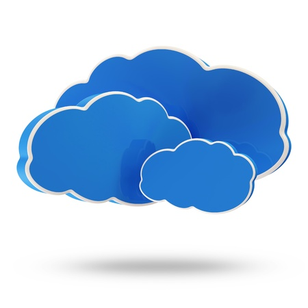 Group of Blue Clouds isolated on white background  Cloud Computing Concept photo