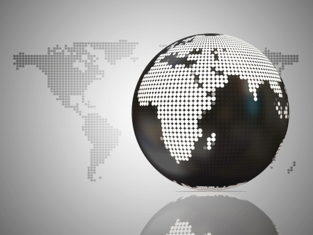 Business background with doted globe and world map photo