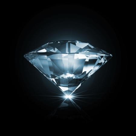 輝く光線と黒の背景にブルー ダイヤモンド