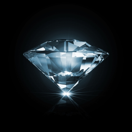 Blue Diamond on black background with glowing rays photo