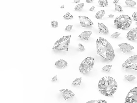 karat: Diamonds isolated on white background with place for your text