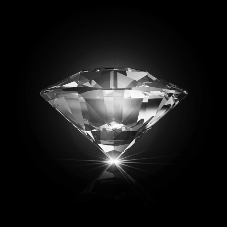 karat: Diamond on black background with glowing rays Stock Photo