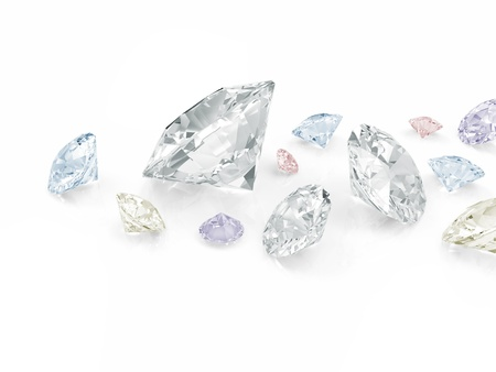 scintillation: Colorful Diamonds isolated on white background Stock Photo