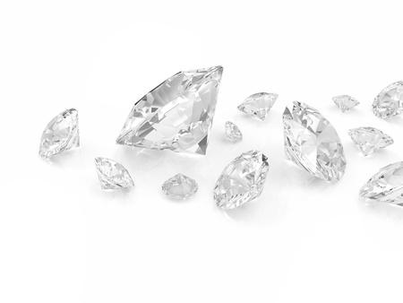 Diamanten geïsoleerd op een witte achtergrond Stockfoto