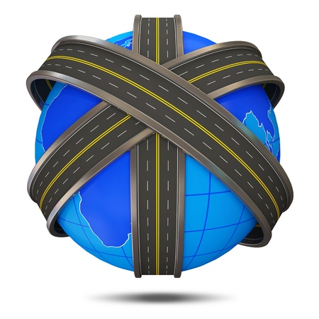 Asphalted Road around Earth Globe isolated on white background photo