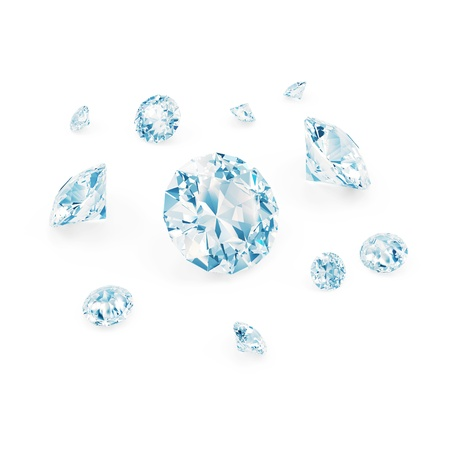 scintillate: Blue Diamonds isolated on white background