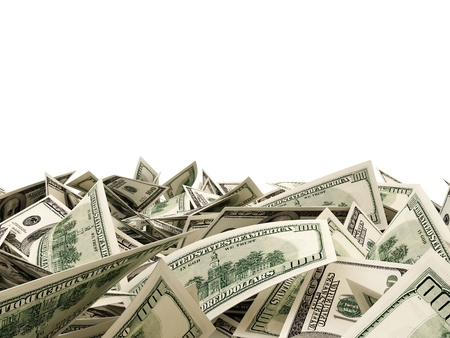 Heap of Dollar Bills isolated on white background with place for your text photo