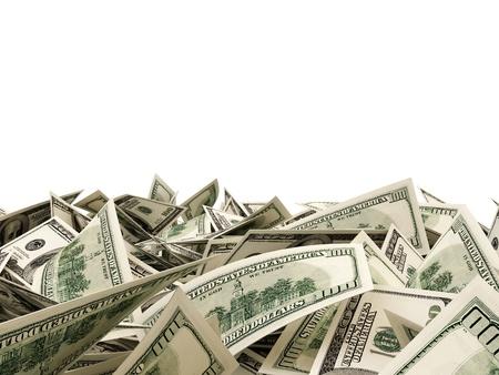 letra de cambio: Mont�n de billetes de d�lar aislados sobre fondo blanco con el lugar para el texto