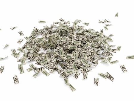 falling money: Heap of Dollar Bills isolated on white background
