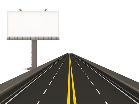 autobahn: Asphalted Road with Empty Billboard isolated on white background