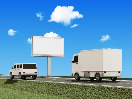 Delivery Van and SUV Car on the Asphalted Road with Blank Billboard photo