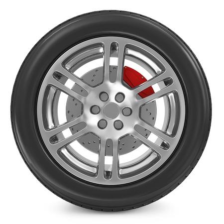 chock: Car Wheel isolated on white background