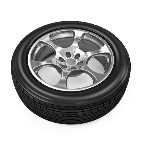 retreading: Car Wheel isolated on white background