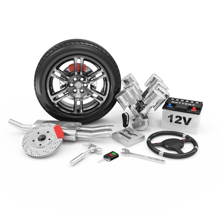 herramientas de mecánica: Piezas de coches aislados sobre fondo blanco Foto de archivo