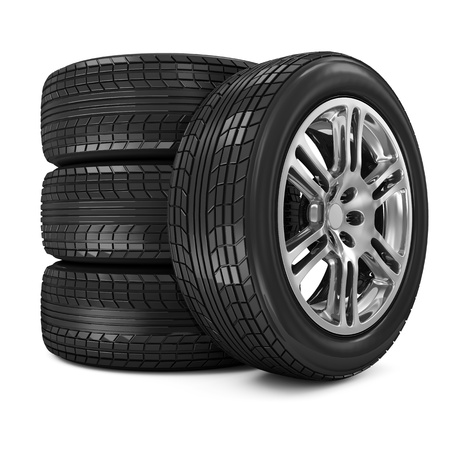 Stack of Car Wheels isolated on white background Stock Photo - 20055188