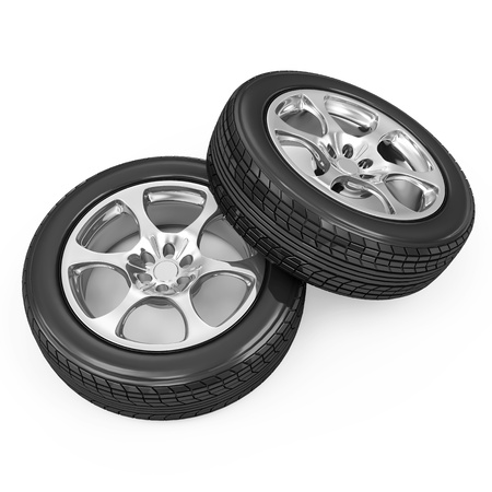 retreading: Car Wheels isolated on white background