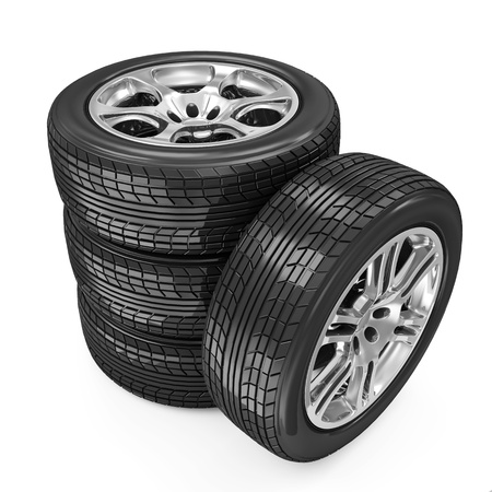 retreading: Stack of Car Wheels isolated on white background Stock Photo