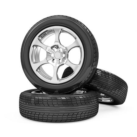 retreading: Car Wheels isolated on white background